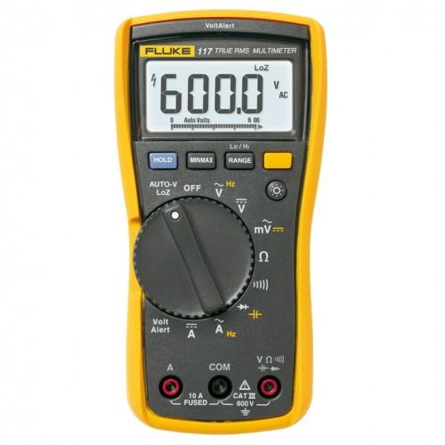 Fluke 117 TRMS Multimeter, 600V, 10A AC / DC, 6000pt, backlight, LoZ