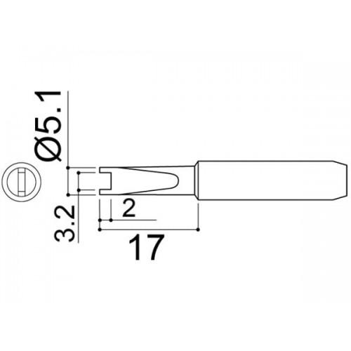 HAKKO 900M-T-R Soldering Tip Shape-R For 900M. 933. 935M. 376. 907. 913