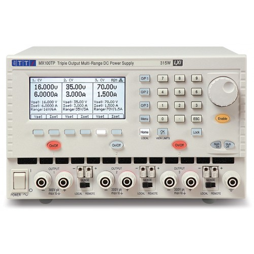 AimTTi MX100TP triple output laboratory power supplies 315 Watts with GPIB, RS-232, USB and LAN (LXI) interfaces