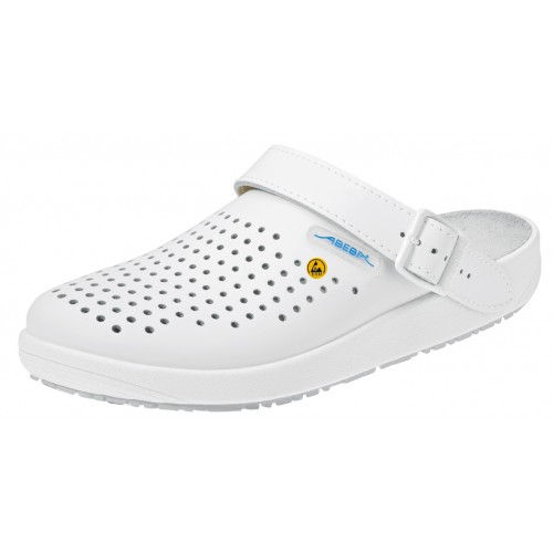 Abeba 5300 ESD Clog in perforated white leather