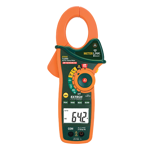 Extech EX845: 1000A AC/DC True RMS Clamp/DMM with IR Thermometer and Bluetooth MeterLink™