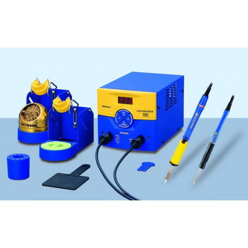 HAKKO FM-203-MS control unit including one 70W soldering iron and one 48W micro soldering iron