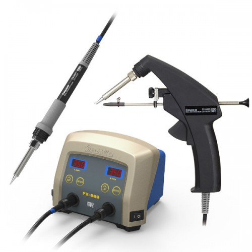 HAKKO FX-889-SM Dual Port Station with 1 Soldering Iron and 1 One-hand Manual-solder-feed Iron
