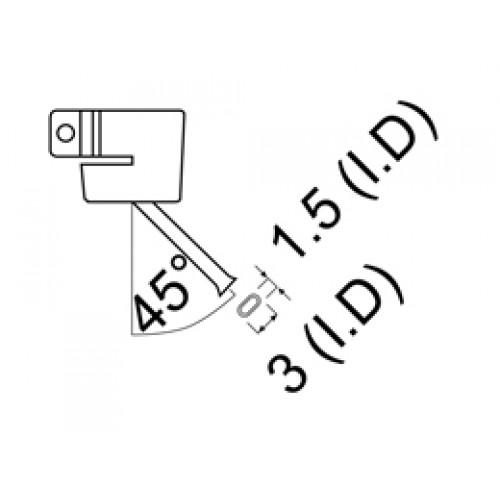 HAKKO A1142B Bent Single hot air nozzle Size Φ1.5 x 3