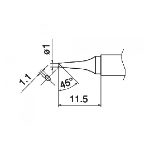 HAKKO T15-BCF1 Shape-1BC Tinned cut surface only soldering tip for handpiece FM-2027 and FM-2028