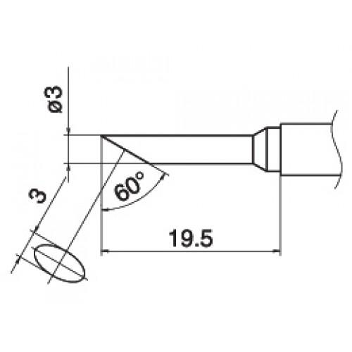 HAKKO T15-CF3 Shape-3C soldering tip for handpiece FM-2027 and FM-2028