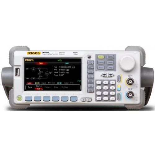 RIGOL DG5252 Arbitrary Waveform Generator 250 MHz  maximum sine output frequency, 1 GSa/s sample rate, 14 bits resolution, dual-channel